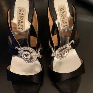 Badglet mischka black rhinestone heels. 6.